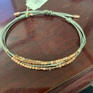 Fossil leather bracelet w/ rose gold color beads